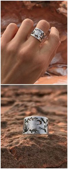 Keep the serene beauty of the desert close at hand with this desert landscape ring, inspired by the maker's Nevada surroundings.