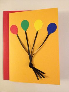 Balloon Birthday Card with Ribbon by MegansPaperCreations on Etsy, $4.75