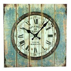 """Bistro de Paris Vins de Bordeaux"" Weathered Plank Board Wall Clock - 13-1/4-in  $20.00"