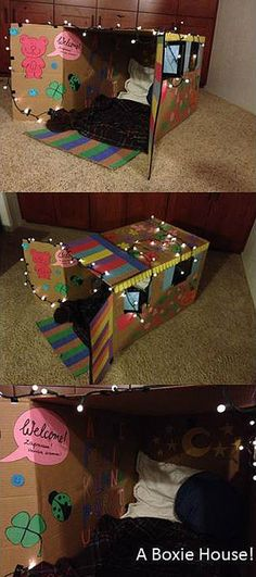A toddler's dream boxie house! A mini-fantasy room to learn ABC's or curl up with a fave stuffie... Add Christmas lights to a giant box for instant glow. Thanks to Kamila, our au pair, for making this!