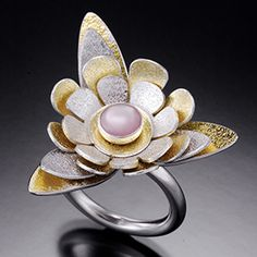 Flower Ring - Artisan Jewelry - Sterling Silver, 24K Yellow Gold Leaf Keum-boo, Pink Mother of Pearl by Holly Goeckler
