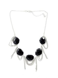 Black Large Bead Silver Chain Necklace - $24.00 : FashionCupcake, Designer Clothing, Accessories, and Gifts