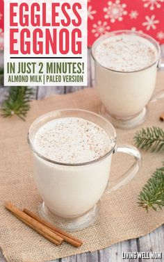 Simple Vegan Eggnog in 2 Minutes (Eggless, Dairy-Free) Eggless Eggnog - In just 2 minutes, you can whip up a batch of this delicious creamy eggfree eggnog! It's also dairy-free, Paleo-friendly, and delicious with almond milk or coconut milk - your choice! Healthy Recipes On A Budget, Vegetarian Recipes Dinner, Healthy Eating Tips, Paleo Recipes, Free Recipes, Alkaline Recipes, Vegetarian Food, Healthy Alternatives, Yummy Drinks