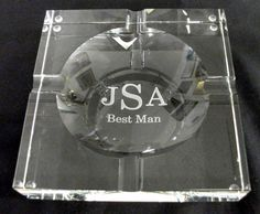 Personalized Crystal Square Cigar Ashtray - Crystal Images, Inc.
