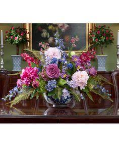 Peony, Rose U0026 SnowballHydrangea Silk Flower Centerpiece
