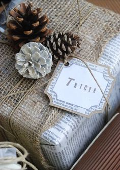 Burlap gift wrapping. Gorgeous!