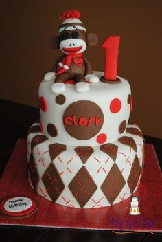 Sock Monkey 1st Birthday Two Tier with Smash Cake