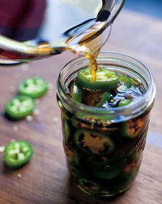 Pickled Jalapeno Peppers Recipe _ I think these little soy-pickled peppers are the biggest crowd-pleaser—not to mention highly addictive! Pickled Jalapeno Peppers, Stuffed Jalapeno Peppers, Chutneys, Food Porn, Canning Recipes, Easy Canning, Mets, Mexican Food Recipes, Love Food