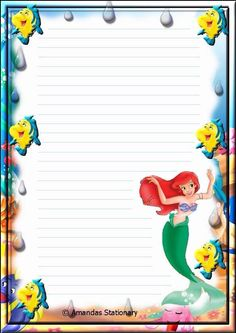 """Princesses"": ""Ariel, under the sea"", as courtesy of Walt Disney Free Printable Stationery, Printable Paper, Journal Paper, Journal Cards, Disney Printables, Cute Stationary, Stationery Paper, Disney Scrapbook, Disney Crafts"