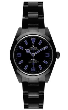 """""""My masculine side definitely inspired my design. I designed this for a man to be worn by a woman and vice versa. It's dark, it's moody, and it's sexy - just like a man wearing navy and black."""" --Jess Hart on her Bamford Watch"""