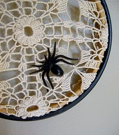 doily spider web, very shabby chick halloween!