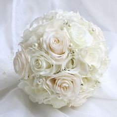 White Rose Bouquet Destination Wedding Bridal Bouquet Boutonniere Corsage