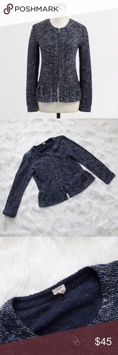 """J. Crew Factory Navy Boucle Peplum Jacket Blazer This is a beautiful navy J. Crew Factory boucle peplum jacket! Zip up. Front pockets are still stitched shut. Measures approx. 18.25"""" armpit to armpit and approx. 22.5"""" from shoulder seam to hem. Has a few small pulls/snags and some light pilling/fuzzies, but still in great pre-loved condition with tons of life left!  🚫no trades 🚫no modeling ✅dog friendly/🚭smoke free home ✅reasonable offers ✅bundle & save! J. Crew Factory Jackets & Coats…"""