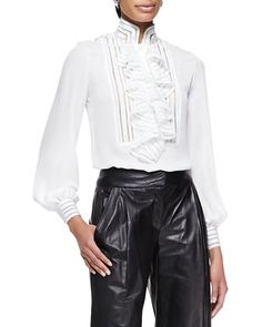 Long-Sleeve+Ruffle+Blouse+by+Oscar+de+la+Renta+at+Bergdorf+Goodman.