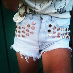 "@omeneye's photo: ""OMEN EYE X NBD VINTAGE custom pink reflection shorts @nbdvintage #fashion #style #highwaisted #vintage #cutoffs #omeneye #studdedshorts #studded #shorts #LA #want #hipster #girl #hot #2013 #coachella"""
