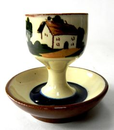 """Torquay Pottery Egg Cup 3""""H Motto Ware Cottage Watcombe"""