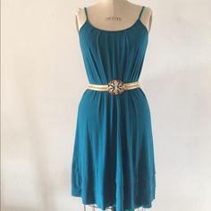 Teal Blue Pleat Detail Dress Sz S Rayon jersey knit dress. Very comfy. Pleating detail in front and back. Belt not included. Dresses Midi