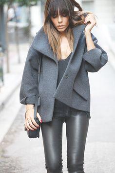 grey coat, black leather pants