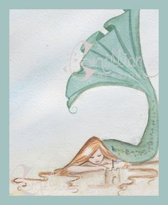 Mermaid on the Beach with Sandcastle Original Watercolor Painting by Camille Grimshaw