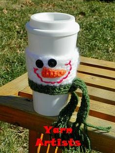 Snowman cup cozy ~ free pattern ᛡ