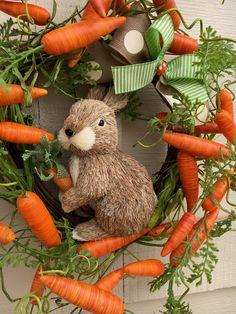 Easter WreathBunny WreathCarrot WreathBunny with Carrots Easter Tree Decorations, Easter Wreaths, Easter Decor, Diy Ostern, Easter Peeps, Easter Colors, Spring Crafts, Easter Baskets, Easter Crafts