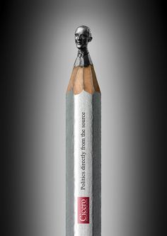 Heads pencil The Cicero , German publication specializing in politics, looking for a way to promote before your potential audience and before the subjects themselves of its parts: the political class. He challenged by this policy to be portrayed in extraordinary pieces carved in graphite, more specifically, in the end a pencil. The artist Ragna Reusch Klinkenberg was in charge of such a huge task. © obvious: http://lounge.obviousmag.org/esferagrafica/2012/03/as-cabecas-de-l Reusch…