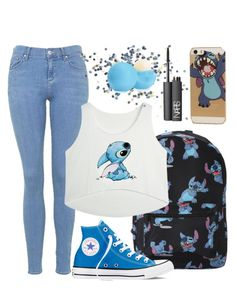"""Stitch"" by devinngates on Polyvore featuring Topshop, Disney, Converse, NARS Cosmetics and Eos"