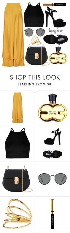 """Celebrating"" by chichismash ❤ liked on Polyvore featuring Sara Battaglia, Boohoo, Steve Madden, Chloé, Ray-Ban, Gorjana and Yves Saint Laurent"