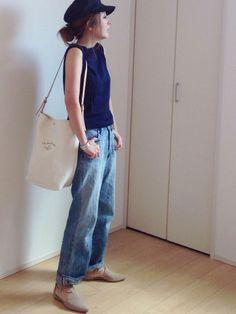 SEAのデニムパンツ「VINTAGE 801M ミディアムライズストレートオリジナルセルヴィッチデニムパンツ」を使ったmayumiのコーディネートです。WEARはモデル・俳優・ショップスタッフなどの着こなしをチェックできるファッションコーディネートサイトです。