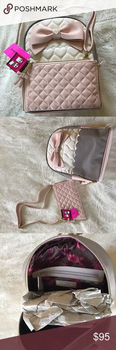 """Betsy Johnson Convertible Back Pack and Purse Betsy Johnson Convertible Back Pack & Purse Combo. Blush Couple with Pale Gray and Quilted Pattern = Perfect Spring Fashion. Straps are adjustable. Height 13.25"""", Width 4.5"""", Length 10.75"""". Purse measures 9.5"""" by 6"""" and has a strap length of 30"""". Betsey Johnson Bags Backpacks"""