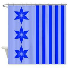 Blue Flowers and Stripes Shower Curtain> Even More Shower Curtains> cheriverymery