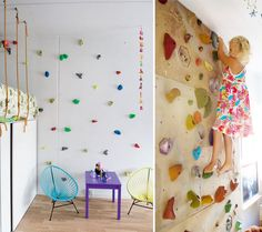 climbing wall in kid's bedroom. I love this idea for Lily and Paxton's playroom!