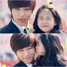 """Infinite's L looks like he would make a great oppa! (oppa means """"older brother"""" in Korean) The two pictures show L posing cutely with child actress Park Min Ha. Both appeared in the music video, but didn't have any scenes where they interacted. The first picture looks to be coordinated, as they both make silly faces for the camera. The second picture captures Park Min Ha giving L an innocent kiss on his left cheek to the envy of many females. #latepinxD"""