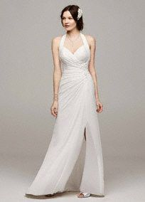 The perfect combination of simple elegance and modern style! This exquisite chiffon gown features an ultra flawless and fashion forward high leg slit. Breathtaking ruching ... Learn more