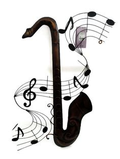 METAL WALL ART SAXOPHONE SHAPE WITH MUSICAL NOTES INSTRUMENT HANGING PICTURE