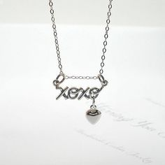 XOXO Heart Charm Necklace, Sterling Silver