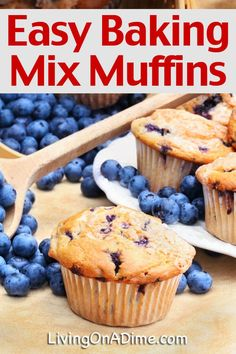 This easy baking mix muffins recipe makes delicious muffins in just minutes with our baking mix, bisquick or your favorite baking mix recipe. #homemaderecipes #easyrecipe #breakfastrecipes #livingonadime