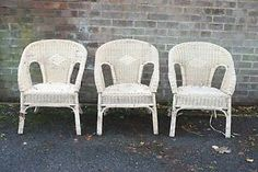 THREE-DISTRESSED-LLOYD-LOOM-CHAIRS-FOR-RESTORATION-OR-FILM-STAGE-PROP-London Stage Props, Loom, Wicker, Restoration, Dining Chairs, Art Deco, Conservatory, Ebay, Home Decor