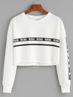 White Letter Print Crop Sweatshirt $13.99