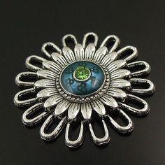 Antique style blue daisy pendants charms 10PCs 01205