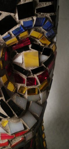 nails & recycled stained glass on found form
