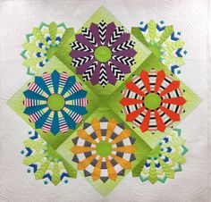 Kathleen's Modern Dresden Plate, longarm quilting by Gina Beans Quilts