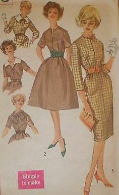 Vtg 1960s Simp 3153 Wiggle Full Skirt Dress Pattern 32B