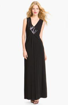 Sequin Trim V-Neck Gown