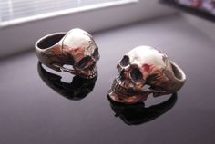 .925 Sterling Silver Half & Full Jaw Skull Rings Polished  Handcrafted by Demitri Bakogiorgis  Contact him to purchase on Facebook https://www.facebook.com/IntoTheFireJewelry #skullrings