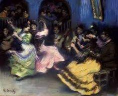 """PERIODO ESCOLAS NACIONAIS 1830-1950. Pintura de Ricardo Canals y Llambi """"Spanish Gypsy Dancers"""". Dançarinos espanhóis ciganos nessa tela expressam as tradições populares na música e na dança. As obras musicais refletem, por sua vez, o espirito dos compoisitores dos seus países ou região de origem"""