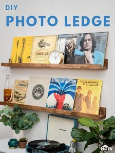 How to Make Your Own Picture-Perfect Photo Ledge - perfect for storing vintage record albums Handmade Home Decor, Cheap Home Decor, Diy Home Decor, Photo Ledge, Diy Living Room Decor, Bedroom Decor, Wall Decor, Picture Shelves, Diy Furniture Plans