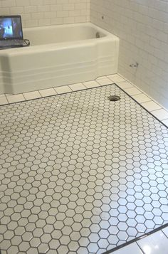 Clayhaus Brilliant White Hex Tile With Gray Grout