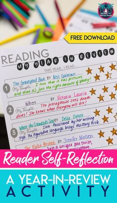 Independent Reading Reflection What have your students read this year? Take time to reflect and set goals with this reader self-reflection activity. Middle School Ela, Middle School English, Writing Skills, Writing Activities, Student Reading, Teaching Reading, Teaching Literature, Secondary Teacher, Free Lesson Plans