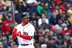 Mookie Betts Photos Photos - Mookie Betts #50 of the Boston Red Sox at bat during the fourth inning of the opening day game against the Pittsburgh Pirates at Fenway Park on April 3, 2017 in Boston, Massachusetts. - Pittsburgh Pirates v Boston Red Sox